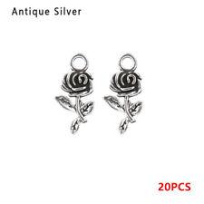 20pcs/bag Tibet silver Rose Flower Charm Pendant beads DIY Jewelry Making New