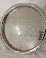 12 In Moroccan Handmade Serving Brass Tea Tray Medium Silver Plated African Fez