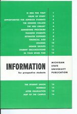1961 Michigan State University INFO BOOKLET Library Campus MAP & BONUS pamphlets