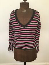 MEXX - Striped Sweater - Pink, Black And Grey - Size Medium