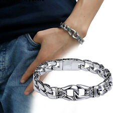 Men's Vintage Silver Chain Link Stainless Steel Bracelet Cuff Biker Bangle 8.6in