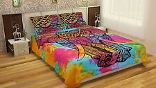 Indian Elephant Mandala Single Duvet Quilt Cover Bedding Ethnic Boho Blanket Set
