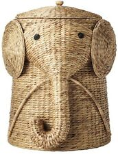 Elephant Wicker Laundry Hamper Woven Basket Clothes Bin Lid Bath Baby Kid Child