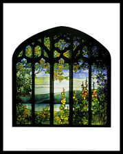 Louis Comfort tiffany Landscape with Hollyhocks poster art imprimé & cadre 36x28