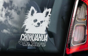 CHIHUAHUA Car Sticker, Long Haired Dog Window Bumper Sign Decal Gift Pet - V05