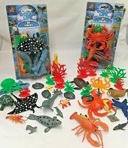 21 Plastic Ocean Animals Figure Sea Creatures Model Kid Toy Dolphin Turtle