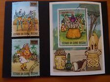 Guinée Bissau 1975 - 2 timbres & 1 bloc oblitérés, Danses Costumes folkloriques