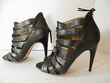 Women's L.A.M.B.Black Leather  Caged Front Strappy Heels Size 8M