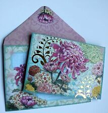 *PUNCH STUDIO Set of 5 Gold Foil Blank Note Cards ~ Floral ~ Pink Chrysanthemum