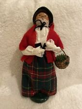 Vintage 1989 Byers Choice Caroler Woman with Basket Plaid Skirt Red Shawl