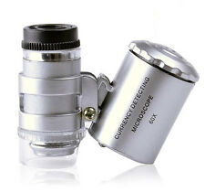Mini 60X Microscope LED Currency Detect Magnifier Loupe Portable Equipment New