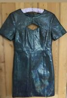 ASOS metallic leather short sleeved party dress  size 12