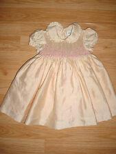 Vtg-Luli Me-50s-60s-Infant Baby Girl-Doll Clothes-Shabby Chic-Smocked Dress-9 mo