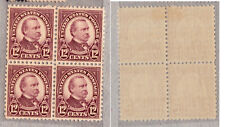 "Us-1922/34-Deffinitives ""Famous Americans""-Pres.Clev eland-Bl.x4,Mnh/Mlh"