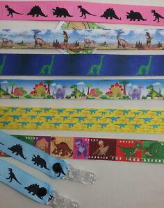 MITTEN CLIPS x1pr DINOSAUR ribbon girls boys kids glove holders savers Xmas gift