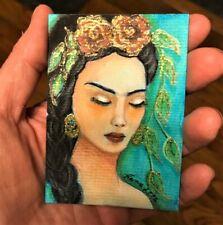 Original ACEO ATC Frida Kahlo Hand Painted 3D Gold SHIPS WORLDWIDE