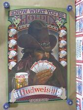 Vtg 1980 Budweiser Beer Poker Wsop Wpt Pro Card Trick In Motion Bar Sign Poster
