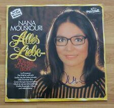 """ORIGINAL Autogramm von Nana Mouskouri. Auf VINYL 12"""". """"ALLES LIEBE"""""""