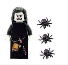 LEGO MINIFIG Glow in Vampiro Donna Dark HEAD & 3 ragni Halloween Nuovo