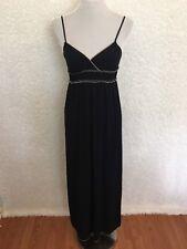 0b916808227 Max Studio Womens Dress XS Maxi Empire Waist Black Jersey Spaghetti Strap  USA