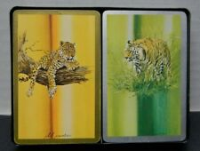 Double Pack Vintage Congress US Playing Cards Phil Prentice Tigers Leopards Case