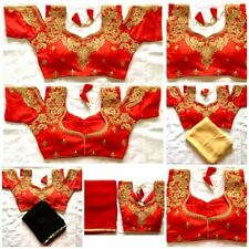 Red Indian Women Traditional Bollywood Wedding Raw Silk Blouse Top Choli Saree