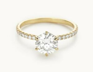 1.30 Ct Moissanite Round Cut Yellow Gold Christmas Ring 18K Solitaire Girl ring