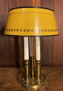 Vintage Ethan Allen Brass Bouillotte Table Lamp Yellow Toleware Shade 3 Candle