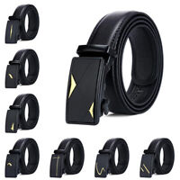 Celebrity Mens Black Automatic Buckle Leather Ratchet Belt Waistband Strap Waist