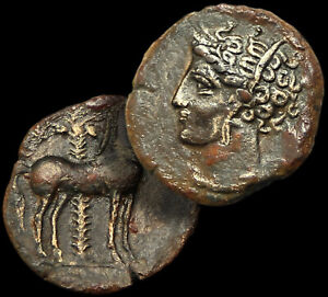 Zeugitania, CARTHAGE / HORSE -PALM TREE- TANIT / 450-350 BC / Æ Bronze Coin +COA