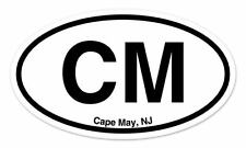 "CM Cape May NJ Ne Jersey Oval car window bumper sticker decal 5"" x 3"""