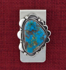 Kingman Turquoise Money Clip By Navajo Artist Randall Joe Tom