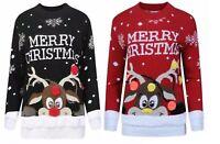 New Kids Childrens Girls Boys Xmas Christmas Pom Pom 3D Retro Jumper Sweater Top
