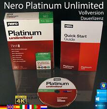 Nero Platinum Unlimited Vollversion Box + CD 7in1 Brennsoftware Dauerlizenz NEU