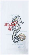 Embroidered Christmas Seahorse in Scarf Kitchen Flour Sack Towel