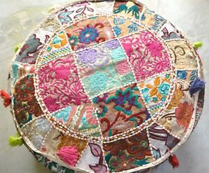 KHAMBARIYA EMBROIDERY INDIEN PATCHWORK ROUND OTTOMAN POUF COVER HOME DECOR