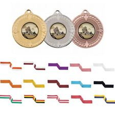 Gold Silver or Bronze 50mm Metal Medals Standard or Custom Centre & Ribbons