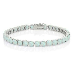 5mm Round-cut Simulated White Opal Sterling Silver Tennis Bracelet