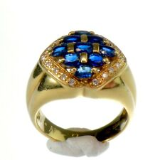 IMPOSANTE BAGUE OR JAUNE 18K 750/°°° PAVAGE de 9 SAPHIRS et 18 DIAMANTS