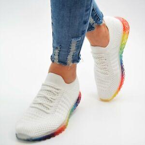 Damen Schuhe Sneaker Weiss Low Turnschuhe Sportschuhe Ballerina Freizeitschuhe