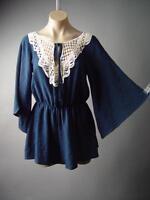 Sale Navy Blue Crochet Front Wrap Flare Sleeve Shorts Jumper 149 mv Romper S M L
