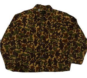 Vintage 80s Kmart Duck Camo Large 100% Cotton Button Up Field Shirt Jacket EUC!