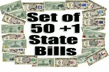 50 + 1 Us State Million Dollar Bill Set w Map, Capitol Bldg, Bird, Tree, Flower