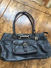 womens purses and handbags/Etienne Aigner Large Black Leather Tote Purse