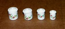 Dollhouse Miniatures, Canister Set in White, w/Flowered Decorations.