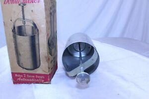 Vintage Donut Maker with Original Box Aluminum Hopper with Press Plunger