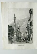 Innsbruck Sankt Anna Säule Karwendelkirche Markt Litho um 1840
