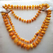 """Russian Russia Baltic Butterscotch Egg Yolk Amber Beaded Necklace 31"""" 28.9 grams"""