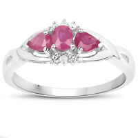 9CT WHITE GOLD RUBY /& DIAMOND CLUSTER ENGAGEMENT RING SIZE H W