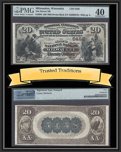TT FR 504 1882 $20 NBN MILWAUKEE, WI BROWN BACK CH # 5458 PMG 40 EXTREMELY FINE